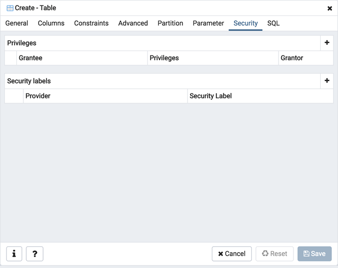 Table dialog security tab