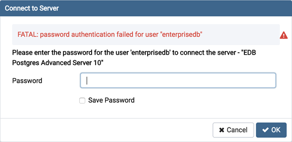 Password authentication failed