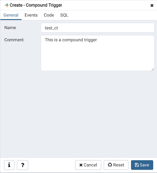 Compound Trigger dialog general tab