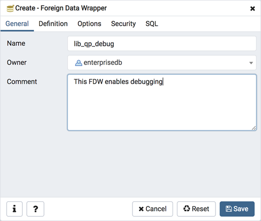 Foreign data wrapper dialog general tab