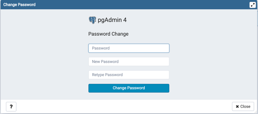 Change current user password dialog
