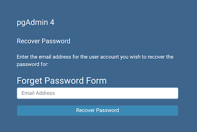 pgAdmin recover login password