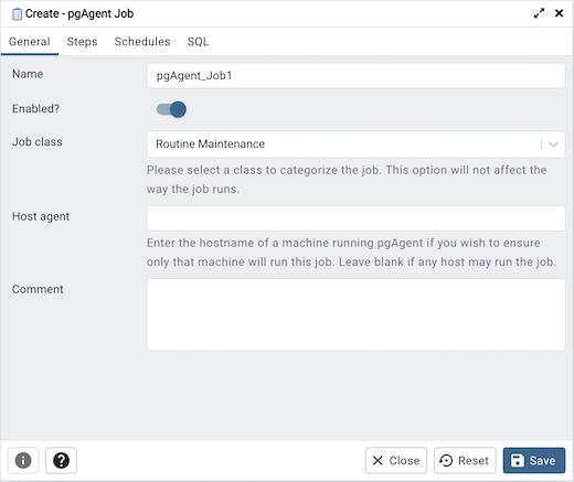 Creating a pgAgent Job — pgAdmin 4 4 12 documentation