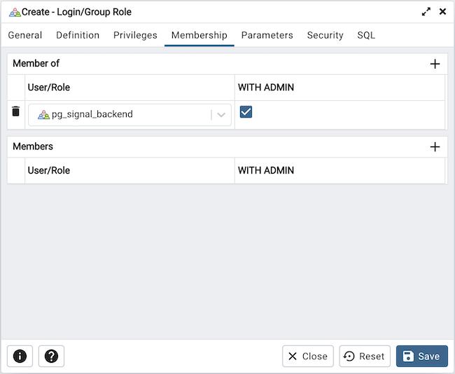 Login/Group Role Dialog — pgAdmin 4 4 11 documentation