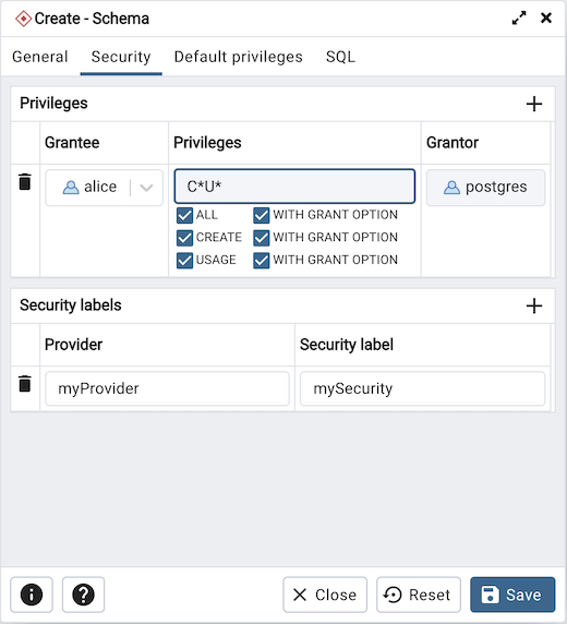 Schema dialog security tab