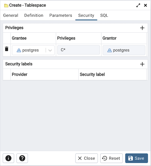 Tablespace dialog security tab